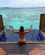 Liziane Gutierrez shows off her enhanced butt in the Maldives 7/26/17